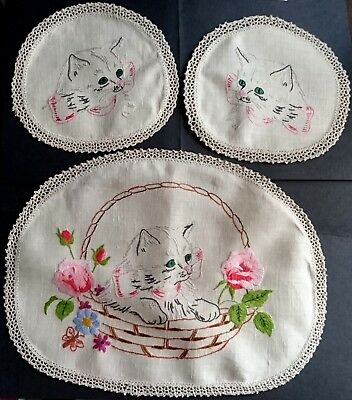 DUCHESS SET EMBROIDERED CATS & ROSES - VINTAGE - Large + Two Small Doillies