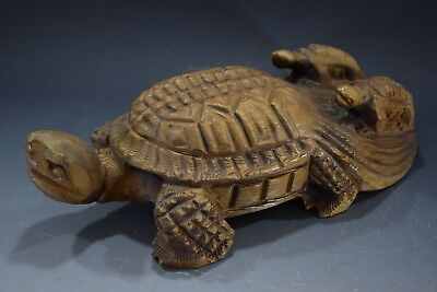 Japanese Antique Carved Wood Tortoise Turtle Sculpture Ornament Vintage Signed