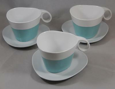 Vintage TWA Melamine Blue White Cup & Saucer Lot of 3 Sets Airline Mod BG034