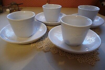 IRON STONE  JOHN MIER & SON HANDLESS CUPS AND SAUCERS set of FOUR , 8 PIECES