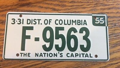 1955  GENERAL MILLS CEREAL PRIZE  DISTRICT OF COLUMBIALICENSE PLATE For Bicycle