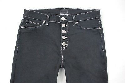 2d451a74942 Hudson Ciara High Rise Ankle SSK Exposed Button Fly Skinny Jeans Gray Sz 28