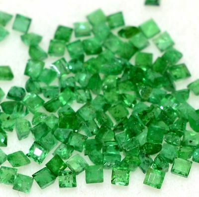 Natural Emerald Square Cut 1.50 To 2 mm Lot 60 Pcs 1.61 Cts Green Loose Gemstone