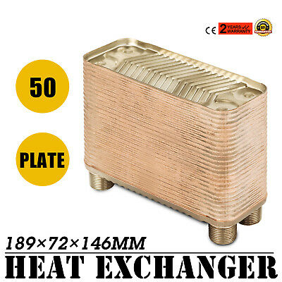 """50 Plate Water to Water Brazed Plate Heat Exchanger HVAC Parts Outdoor 3/4""""male"""