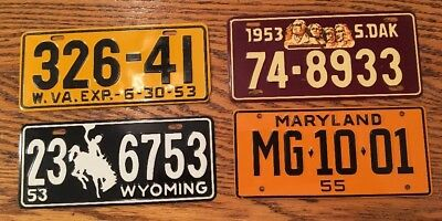 1953 & 1955 GENERAL MILLS CEREAL Premiums Bicycle License Plates (4 States)