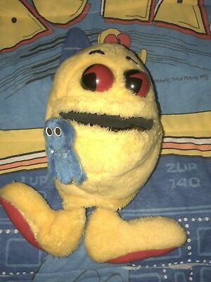 1980's ORIGINAL - Pac-Man Arcade Machine - Vintage Plush Hand Puppet W/ Ghost!