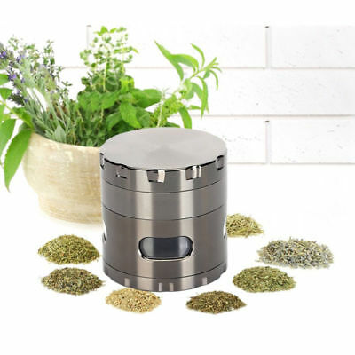 "Large Spice Tobacco Herb Weed Grinder-4 Pcs with Pollen Catcher 2.2"" Gift  Black"