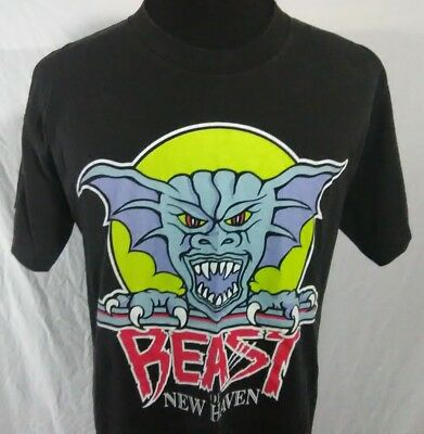 Beast Of New Haven Mens Large T Shirt Black Logo Vintage 1990s Hockey Team