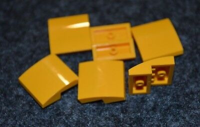 6 ~ 1x2 Yellow Rounded Top Bow Bricks ~ Lego ~ NEW