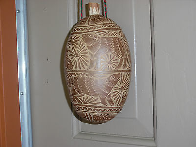 Hand Carved Peruvian Gourd Birds & Animals Carving Water Vessel