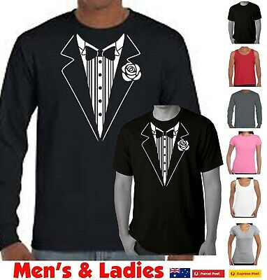 Tuxedo T SHIRT funny t shirts men's ladies fancy dress wedding bucks party tee's
