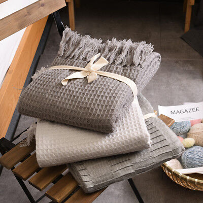 Warm Soft Cotton Waffle Weave Blanket Sofa SlipCover Blanket Throw Rug BedSpread