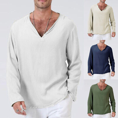 Mens Casual Cotton T-Shirts Basic Tees Tops Man Solid Long Sleeve V Neck Tshirts
