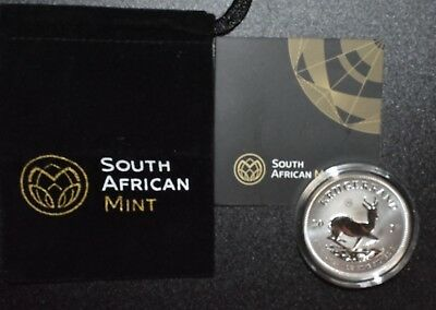 SOUTH AFRICAN SILVER KRUGERRAND 2017 1 oz Pure Silver Premium Unc Coin C9394