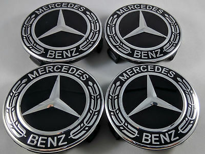 4PC fit for Mercedes Benz Wheel Center Caps Emblem Black and Chrome Hubcaps 75MM