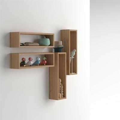 Mobili Fiver, Set of 4 wall-mounted cube shelves, Iacopo, Laminate-faced, Rustic