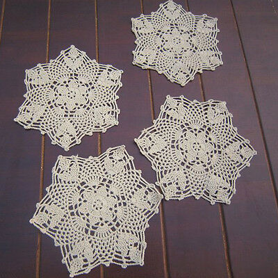 4x Snowflake Coaster Doilies Mat Hand Crochet Cotton Placemat Kitchen Decor 20cm