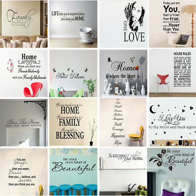 Cool English Word Art Vinyl Wall Stickers Mural Home House Bedroom Decal Decor