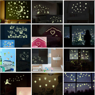 Glow In The Dark Stars Moon Wall Stickers Luminous Living Room Nursery Ceiling