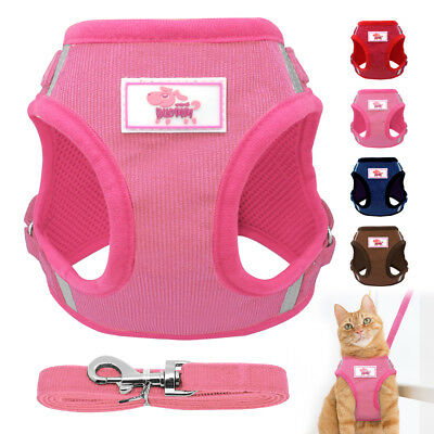 Cat Walking Jacket Harness Leash for Walking Pet Escape Proof Mesh Adjustable XS