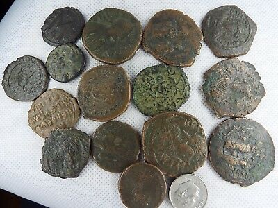 MC-6  MIXED LOT OF BYZANTINE  RARE ANCIENT COINS-- 15 pcs