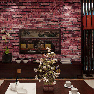 Retro 3D Textured Brick Effect Wallpapers Stone Wall Panels Papers Bar Decor Red