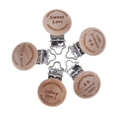 Natural Beech Wood Baby Pacifier Clip Engraved Wooden Pacifier Holder Dummy Clip