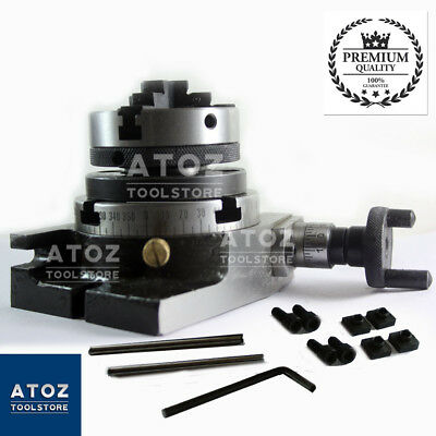 """Rotary Table 3""""  80mm Horizontal Vertical + 65mm 3 jaw self centering chuck Atoz"""