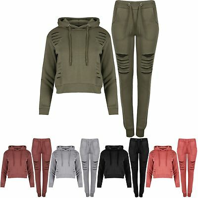 Womens Girls Hoodie Laser Cut Out Jogging Trouser Cropped Long Sleeve Tracksuit