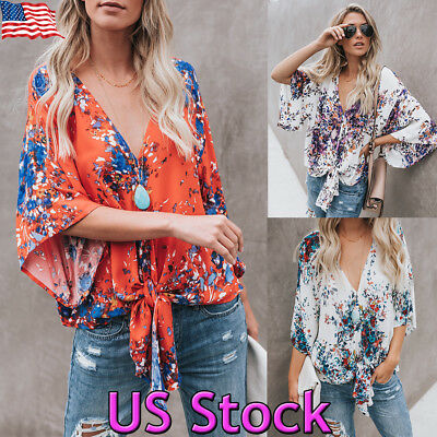 Womens Batwing Sleeve Knotted T Shirt Kimono Summer Casual Tie Bow Blouse Tops