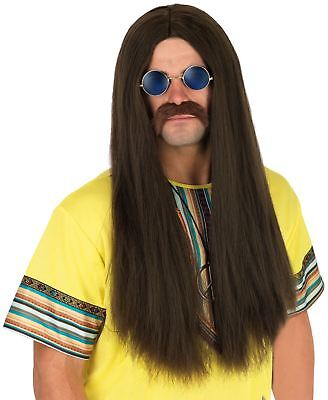 60s 70s Brown Mens Long Straight Hippie Hippy Costume Wig Ozzy Lennon Glasses