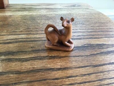 Beautiful Chinese Carved Wooden Figurine Of A Rat - Signed Vgc
