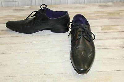 "b5978566dffb TED BAKER ""HANN"" Men s Black Leather Wingtip Oxford Dress Shoes Size ..."