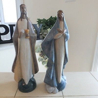Lladro Bread Of Life # 12366 & Holy Mother # 12365 Mint Gres Expedited Shipping!