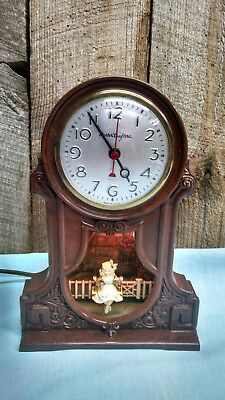 Vintage Bakelite Master Crafters Girl On A Swing Clock, Partial Working Conditio