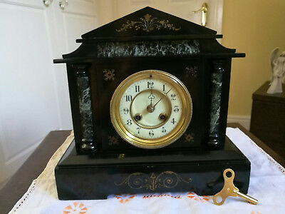 Antique Victorian Black Slate & Marble Chiming Mantel Clock
