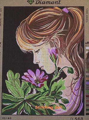 Girl Smelling The Flower Tapestry To Stitch