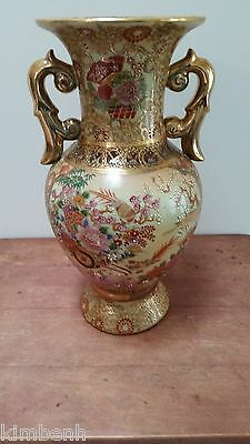 "14"" Antiaue Large Satsuma"" Asian Porcelain Enameled Handle Vase"
