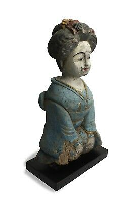 Old Thai Statue of Japanese Lady, circa 1960s ,43cm high, Thailand woodcarving