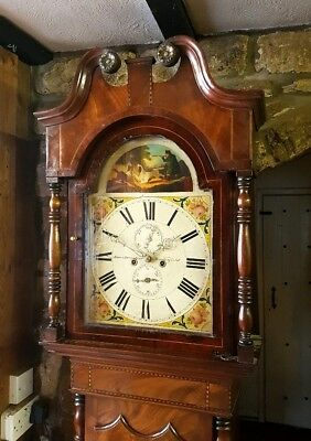 Antique Mahogany & Inlaid Victorian Longcase Grandfather Clock C1860