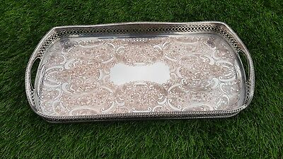 """16"""" vintage rectangle silver plated drinks chased gallery serving tray cocktail"""