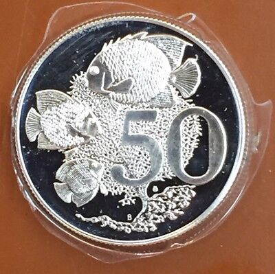 1973 Cayman Islands Fifty Cent 50c Silver Proof Struck Coin - TCC