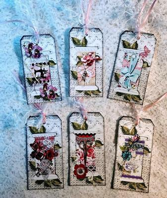 Set of 6 Hang Tags~Shabby Chic Thread Spool's ~Gift Tags~Scrapbook~Cards~#269R