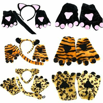 3 Pack Complete Animal Outfit Tiger Cat Leopard Fancy Dress Tail Ears Gloves