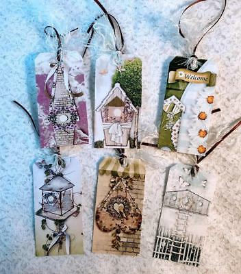 Set of 6 Hang Tags~Shabby Chic Birdhouse's~Gift Tags~Scrapbooking~Cards~#270R