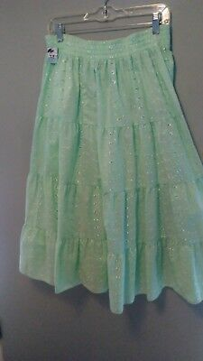New Women's Square Up Fashions mint green eyelet square dance skirt size M