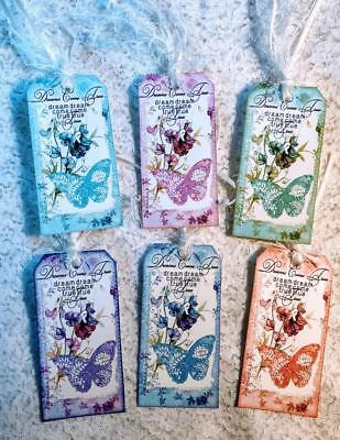 Set of 6 Hang Tags~Shabby Chic Butterfly Dreams~Gift Tags~Scrapbooks~Cards~#55R