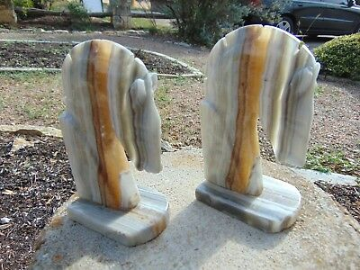 Pair of Marble Alabaster Grey Brown Cream Horse Head Bookends Book Ends