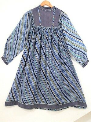 Mayur Vtg Indian cotton folk dress hippy smock ethnic s uk 10 8 us 6 4 70s gauze