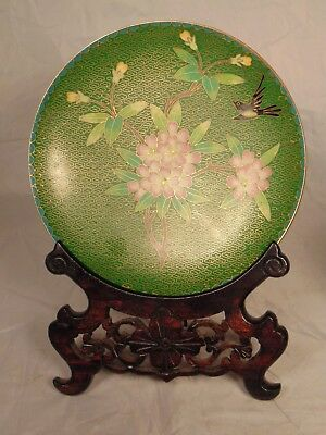 """Chinese CLOISONNE Plate & Stand Apple Blossoms Flowers Bird Green Pink 7 1/4"""""""